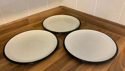 3 Denby Everyday Jet Black Dinner Plates Good Condition