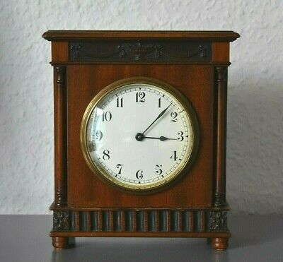 BUREN Antique mantle desk clock. Swiss Made. Running. Hand carved motifs.