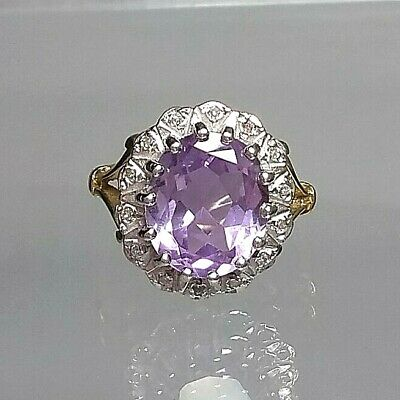 Vintage Statement 5ct Amethyst and Diamond Cluster Ring 9ct Gold