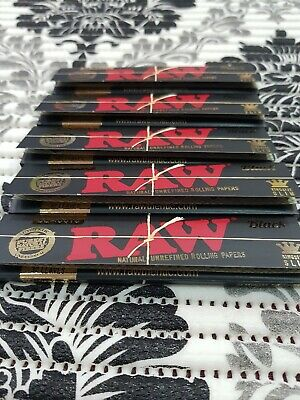 RAW Black Rolling Papers 5 pk King Size Slim  Classic Natural Unrefined  110mm