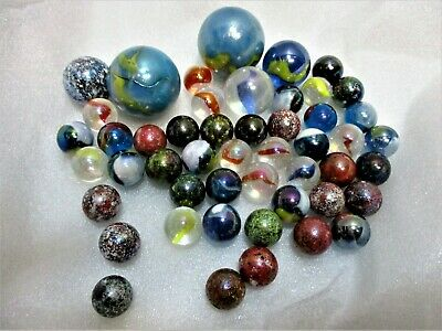 Lot of Vintage Marbles Galaxy Confeiti Mica End of Day Jupiter Textured Qty 48