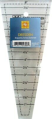 """EZ SIMPLICITY DRESDEN TEMPLATE - ACRYLIC QUILTING RULER 1"""" to 8"""" patchwork"""