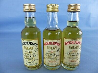Lot 3 Mignonnettes whisky BRUICHLADDICH ISLAY 15 and 10 Year's old single Malt