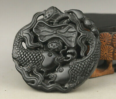 Chinese old natural jade hand-carved double fish pendant