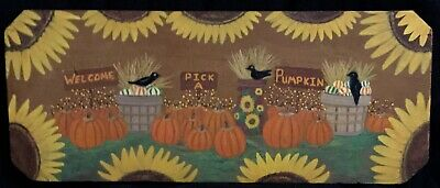 Primitive~Hp Reclaimed Wood Prim Folk Art~*welcome*pick A Pumpkin*~Fall Decor