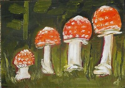 ACEO  painting FLY AGARIC botanical Dora Pilssala ORIGINAL oil painting
