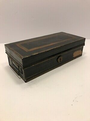 Vintage Tin Document Storage Box With Hinged Lid - Antique Metal Bank Lock Box