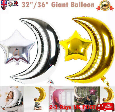 "32"" Huge Giant GOLD SILVER Foil Helium MOON STAR Bunting Birthday Party Balloons"