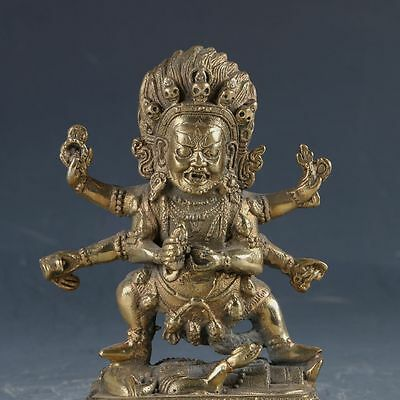 Old Chinese Old Brass Handwork Carved Mahakala Statue