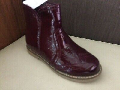 NEXT GIRLS LEATHER BOOTS SZ 11 eu 29 BURGUNDY PATENT ANKLE  BNWT RRP £41