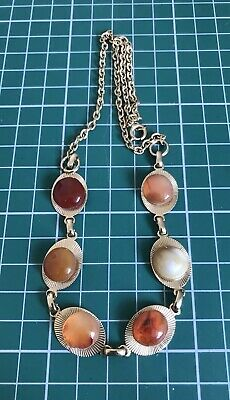 Vintage Jewellery Gold Tone Art Deco Style Necklace With Colourful Agate Stones
