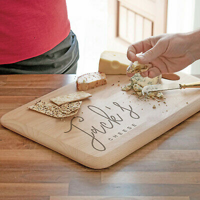 Personalised Script Name Cheese Board, Engraved Beech Wood Cheese Board