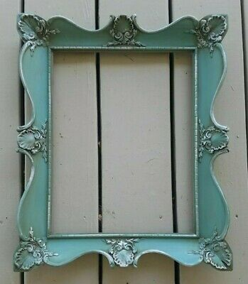 "Vtg Wooden Picture Frame Ornate Shabby Chic Turquoise Painted 18"" x 15"""
