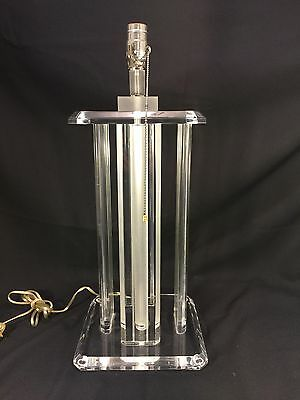 RETRO VINTAGE Lucite Lamp, Lucite Pillars On Square Base MID-CENTURY MODERN