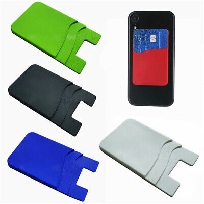 Soft Silicone Stick On Mobile Phone Back Double-deck Cash Credit Card Holder