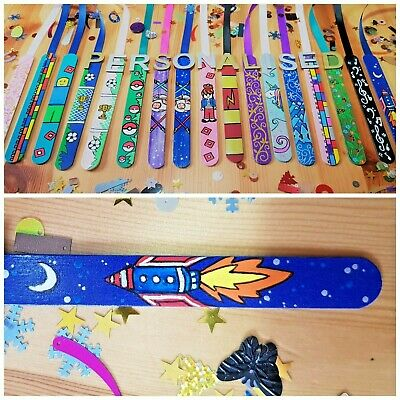 Kids Space Rocket Bookmark. Personalised. Wooden. Any Colour. Hand Painted.
