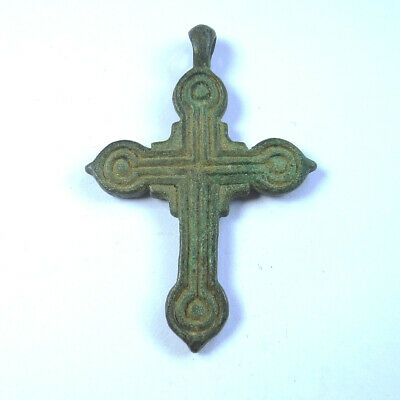 Roman Ancient Artifact Bronze Double Sides Cross