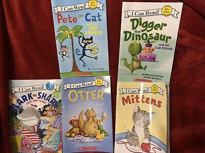 Lot of 5 children's Level 1 Readers Books Digger Pete The Cat And More