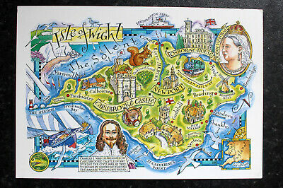 MAP Postcard : LANDSCAPE OF THE ISLE OF WIGHT by David Hobbs - Big Size