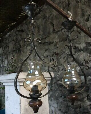 2 Vintage Pair French Iron Ceiling Light Fixture Pair Wood Pendulum Lamp Welded