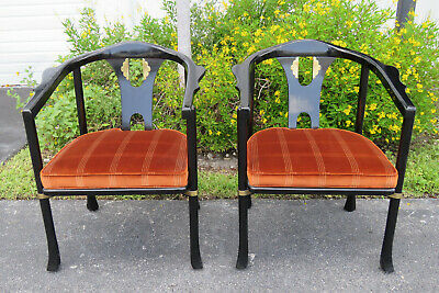 Hollywood Regency Painted Pair of Living Bed Room Side Chairs by Century 9860