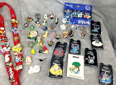 50+ Mixed Joblot~Disney Pin Badges-New/Retired~Mickey Stitch Little Mermaid+More