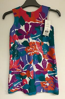 Girls Multicoloured Sequined Sleeveless French Connection Dress Age 6-7 Yrs #236