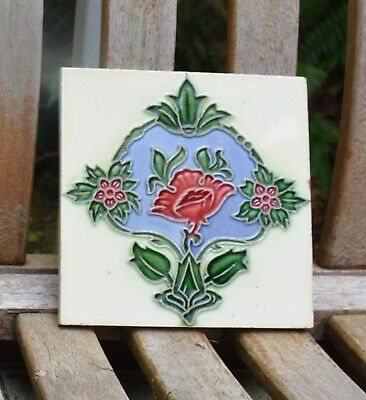 Antique Decorative Art Nouveau Majolica Tile