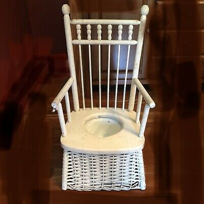 Antique Wicker Wooden POTTY TRAINING CHAIR Child's Wood Commode Seat Pot Vintage