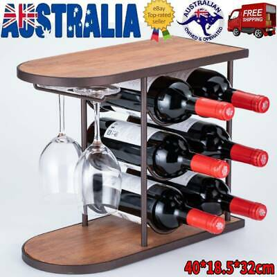 6 Bottle & 2 Goblet Wine Cabinet Storage Table Rack Holder Home Bar Organiser