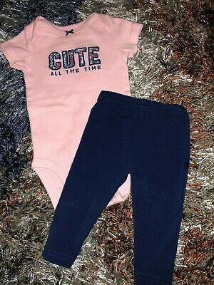 Baby Girls 3 Months Two Piece Outfit Set Cute All The Time Pink & Navy Blue 2 Pc