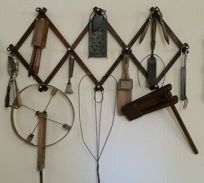 ANTIQUE Watchman's Rattle Alarm Noise Maker, rug beater, kitchen tools on Rack