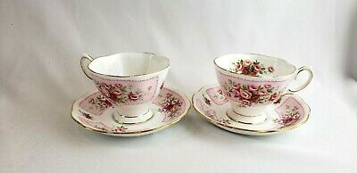 ROYAL ALBERT Rosedale Dove PINK ROSES Two Tea Cup and Saucer Vintage Lot of 2