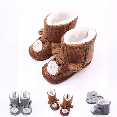 Toddler Newborn Baby Knit Fleece Warm Booties Winter Soft Crib Sole Shoes Boots