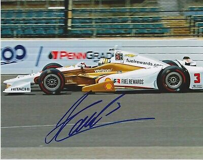 3X Indianapolis 500 winner HELIO CASTRONEVES Signed Indy 8x10 Shell Photo