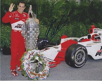 3X Indianapolis 500 winner HELIO CASTRONEVES Signed Indy 8x10 Borg Warner Photo