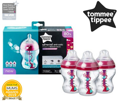 Advanced N Decorated Anti-Colic Baby Feeding Bottles 260ml 3 Count Tommee Tippee