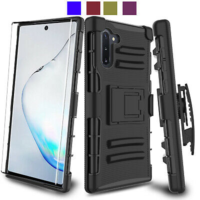 For Samsung Galaxy Note 10 Plus 5G Case Cover W/Holster Belt Clip Tempered Glass