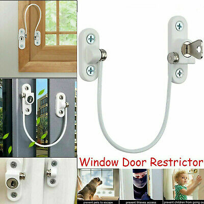 2 x Window Door Restrictor Child Baby Safety Security Locking Cable Wire Lock