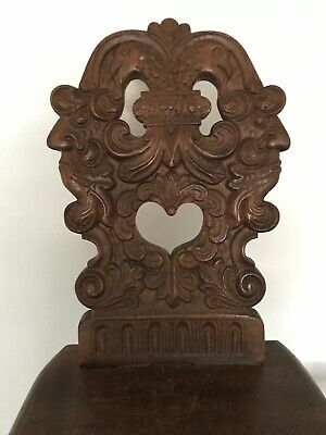 Antique Carved Wood Double Phoenix Heart North Winds Evil Face Eagle Chair