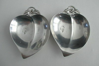 2 Tiffany & Co. Makers Sterling Silver Heart Leaf Nut/Candy Dish Bowl 22886 M