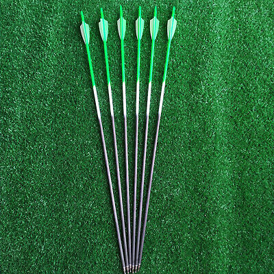 "Archey 31"" Pure Carbon Arrows Spine 350 Compound Bows Hunting Arrows Screw Tips"