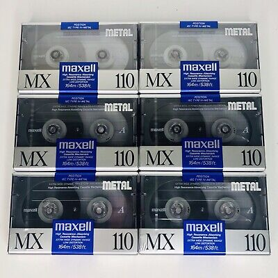 Lot Of 6 Maxell MX-110 Metal Audio Cassette Tapes 110 IEC Type IV Made In Japan
