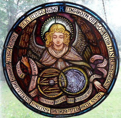 """BAVARIAN STYLE 19th CENTURY STAINED GLASS ANGEL 30-1/4"""" ROUND HAND-PAINTED #890"""