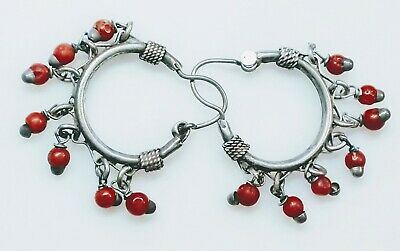"""19mmx5mm RARE .75/"""" Solid Sterling Silver Natural Red Coral Hoop Earrings GORGEOS"""