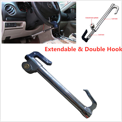 Car Extendable Double Hook Steering Wheel Lock Anti Theft Brake Clutch