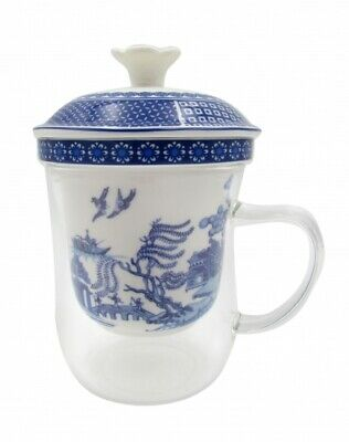 Blue&White Willow 400cc Glass Cup w &Porcelain Strainer Fine Bone China Gift