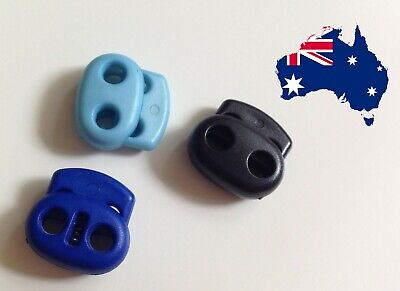 Bean Cord Lock Toggle Stopper Double Hole Paracord Slide Stops Blue Black