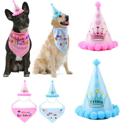 Pet Cat Dog Hat Birthday Princess Crown Party Puppy Kitten Favors Headband Scarf