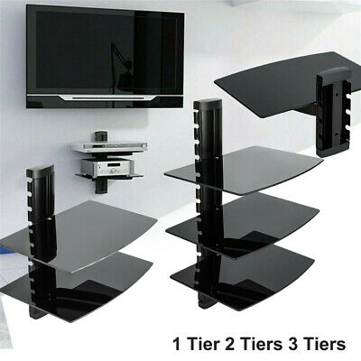 1-3 Tier Black/Silver Floating Shelf Glass DVD Player Game Console Sky Box Fast